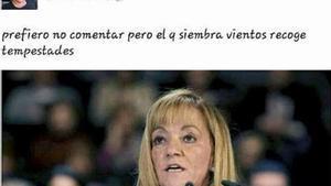 Captura del muro de Facebook de Susana Camiño donde comentó la muerte de Isabel Carrasco.