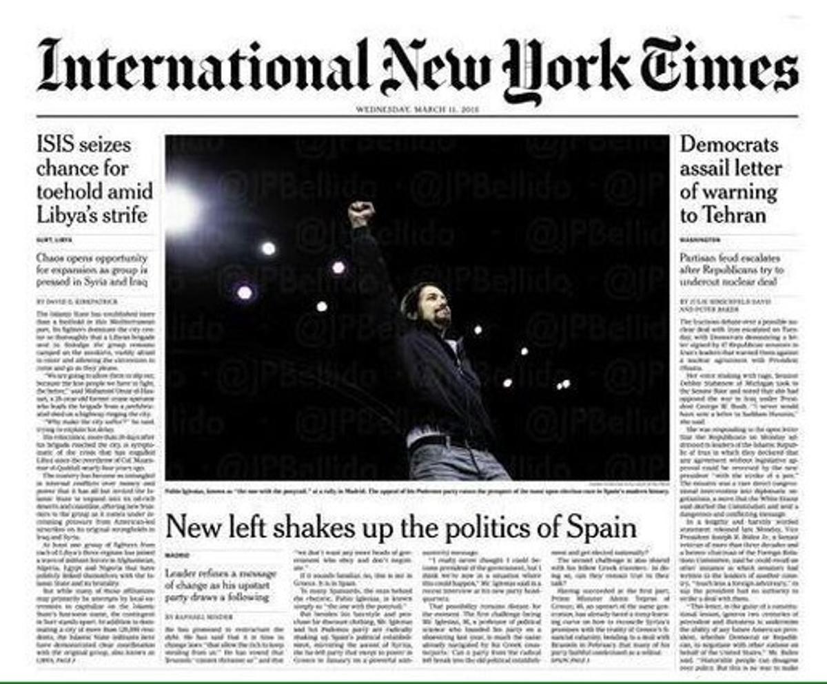 Pablo Iglesias, portada en 'The New York Times'.