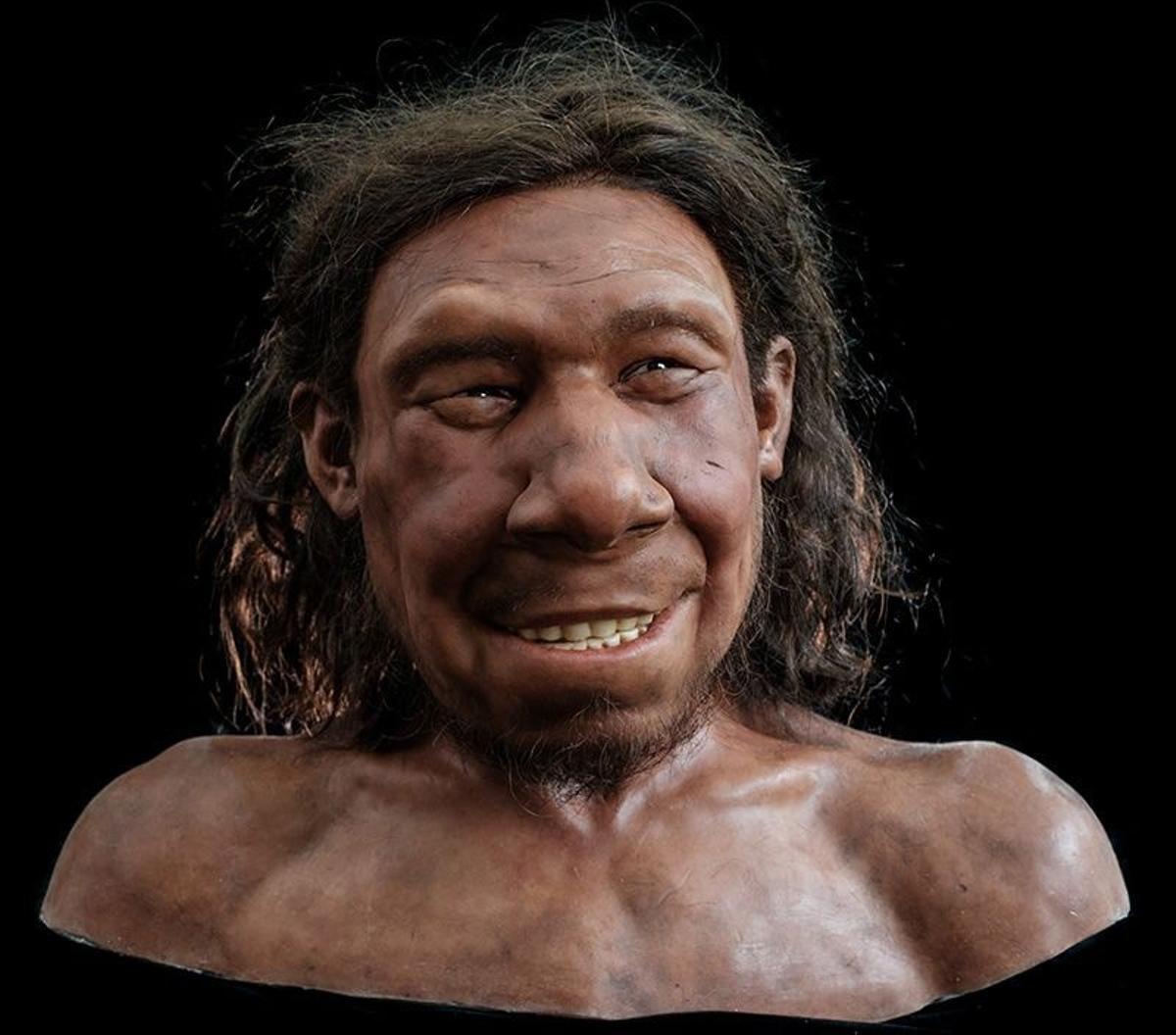 Reconstrucción del rostro de un neandertal.