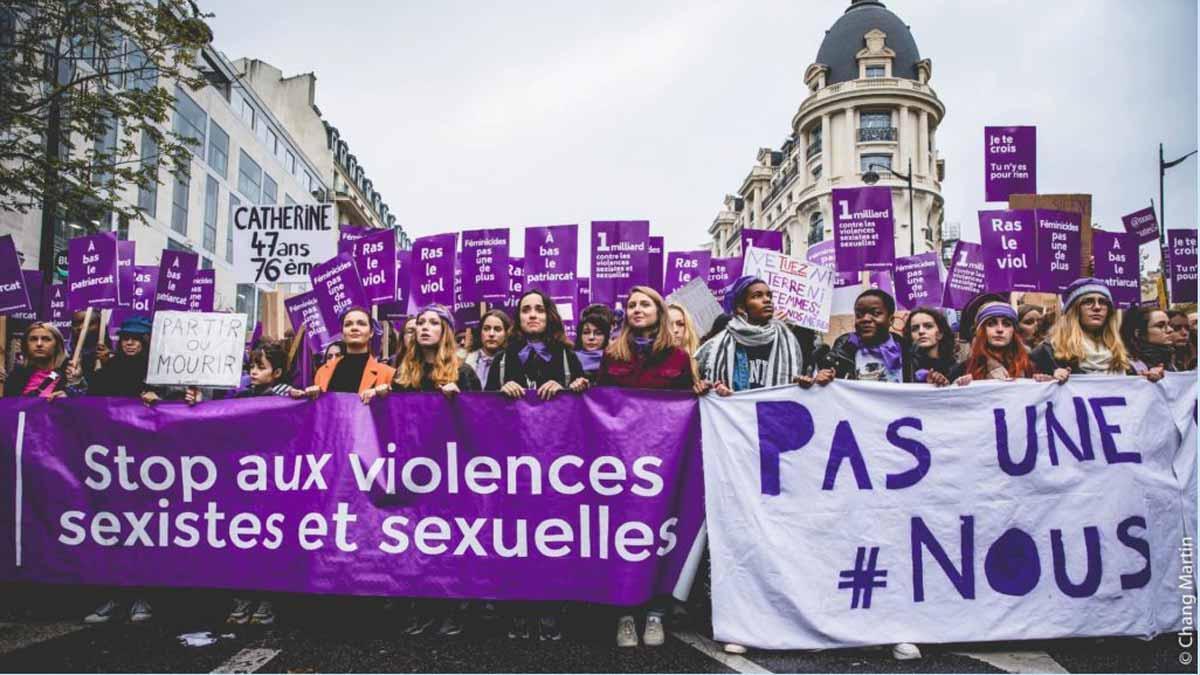 Manifestación contra la violencia sexista en Francia.
