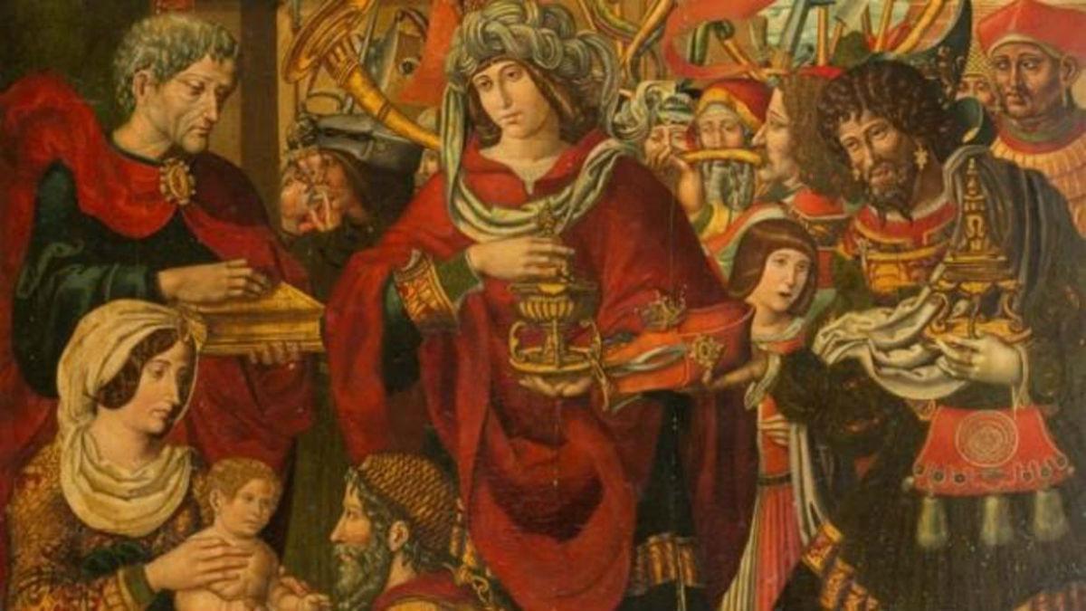 Fragmento de 'La Adoracion de los Reyes Magos', una de las tablas del retablo mayor del monasterio de Sijena.