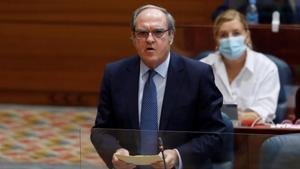 Ángel Gabilondo, portavoz del PSOE en la Asamblea de Madrid, el pasado 1 de octubre en el pleno de la Cámara regional.