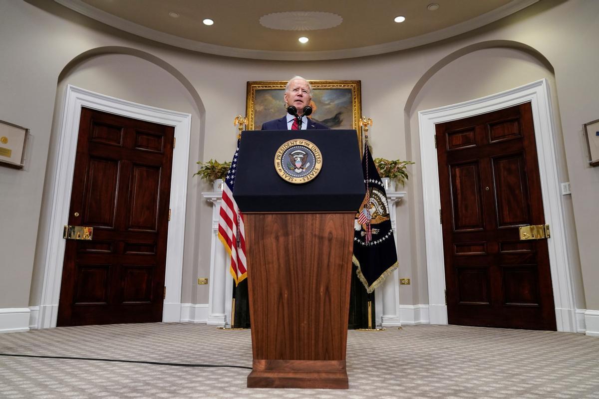 Joe Biden en una rueda de prensa este sábado.