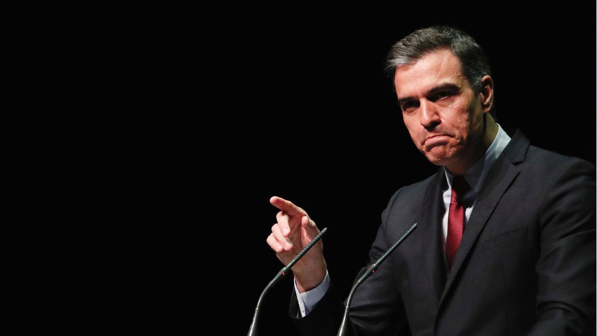 Pedro Sánchez, durante su conferencia en Barcelona sobre los indultos del 'procés'.