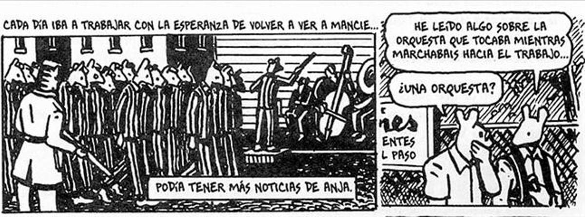 Spiegelman, abajo en 1982, se autorretrata (arriba) con la máscara de un ratón, tal como dibuja a los judíos en 'Maus'. A la derecha, él mismo cuenta cómo el libro se ha 'apoderado' de él. Abajo, viñetas con las que explica las dudas sobre si su padre llegó a ver la orquesta que tocaba en Auschwitz.