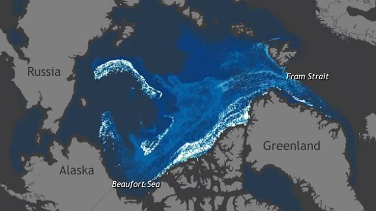 'Time lapse' del deshielo del Ártico en los últimos 30 años.