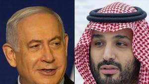 El primer ministro israelí, Binyamen Netanyahu (izquierda), y el príncipio heredero saudí, bin Salman.