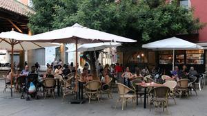 Una terraza de un bar de Granollers llena, este 24 deagosto