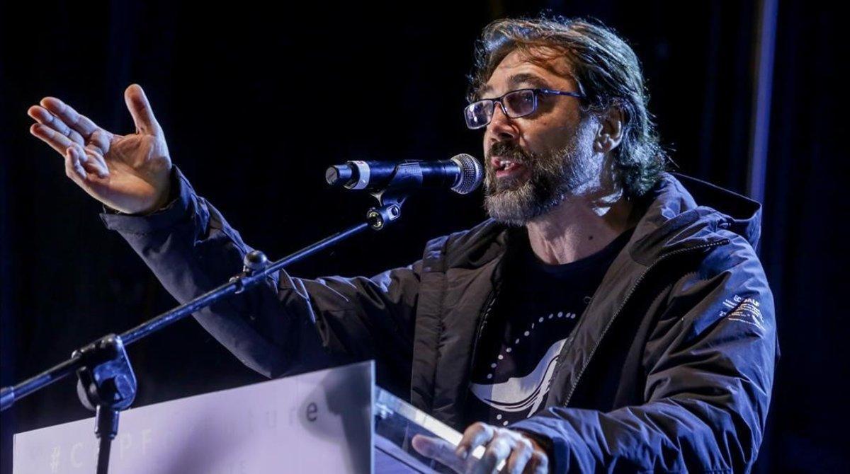 Javier Bardem, en su discursoen la novena jornada de la Cumbre del Clima (COP25) en la Feria de Madrid (IFEMA).