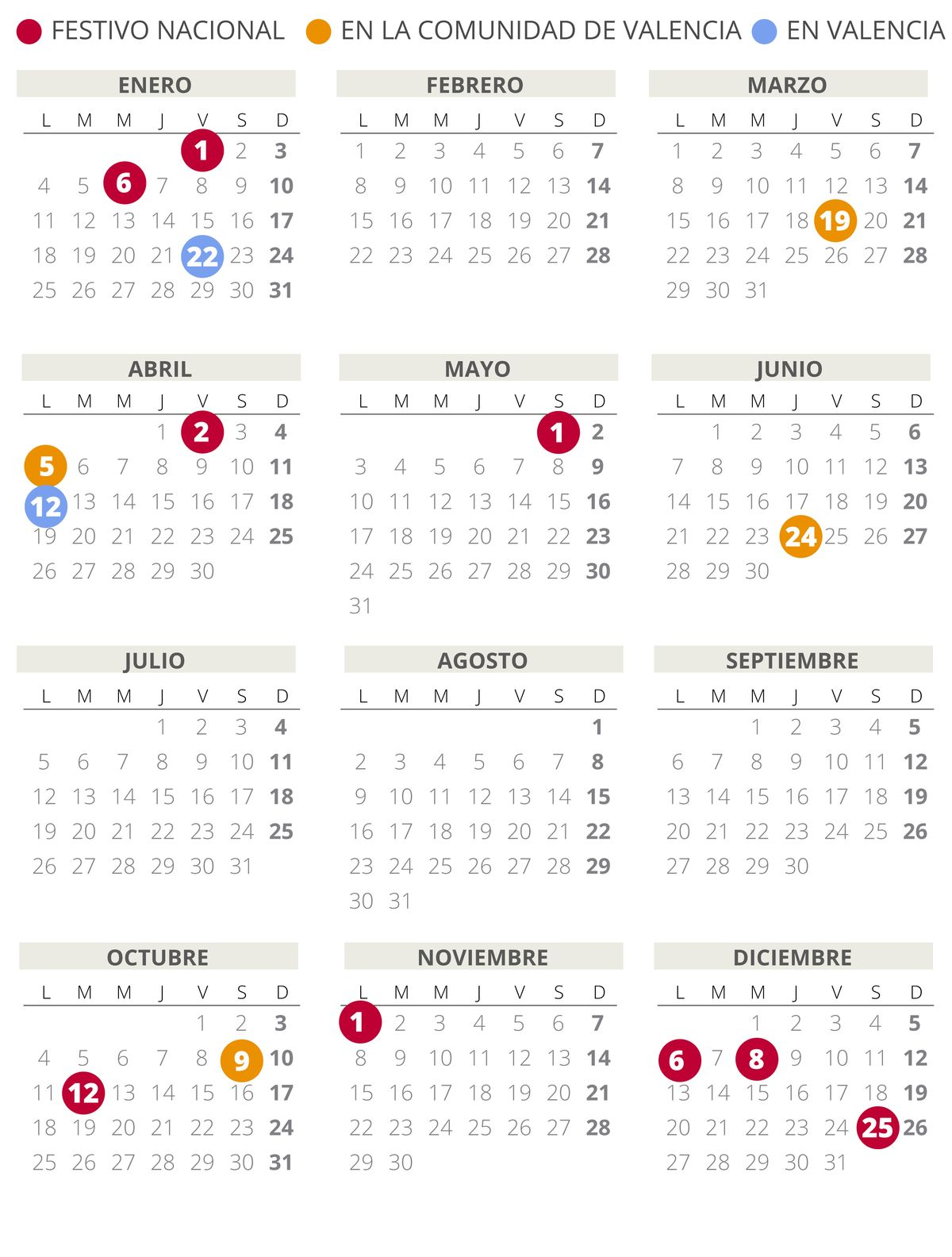 Calendario laboral de Valencia del 2021.