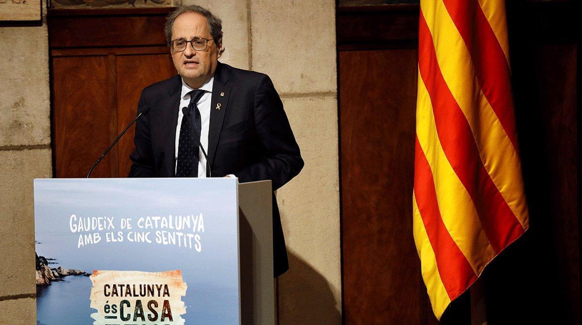 El 'president' Quim Torra, durante la presentación de la campaña turística 'Catalunya es tu casa', el 15 de junio.