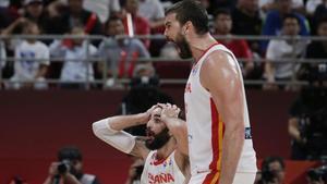 Marc Gasol y Ricky Rubio expresan su alegría tras llegar a la final del Mundial de baloncesto.