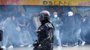 Protestas sociales en Bogotá, Colombia.