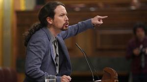 Pablo Iglesias surante una intervención en el Congreso de los Diputados.