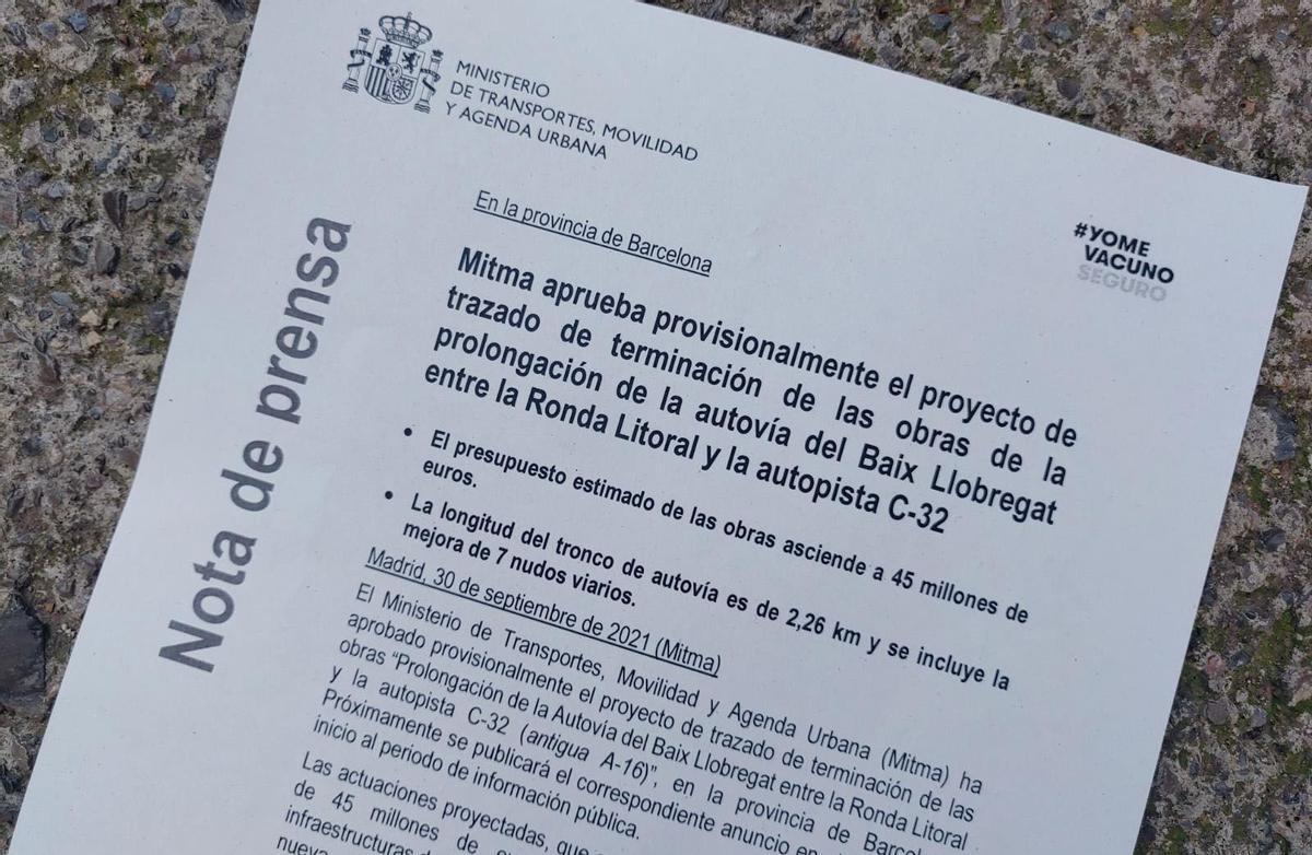 Nota de prensa del Ministerio de Transportes, Movilidad y Agenda Urbana sobre la prolongación de la Autovía del Baix Llobregat entre la Ronda Litoral y la autopista C-32