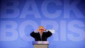 Boris Johnson, este miércoles, en la presentación de su campaña para las primarias del Partido Conservador británico.