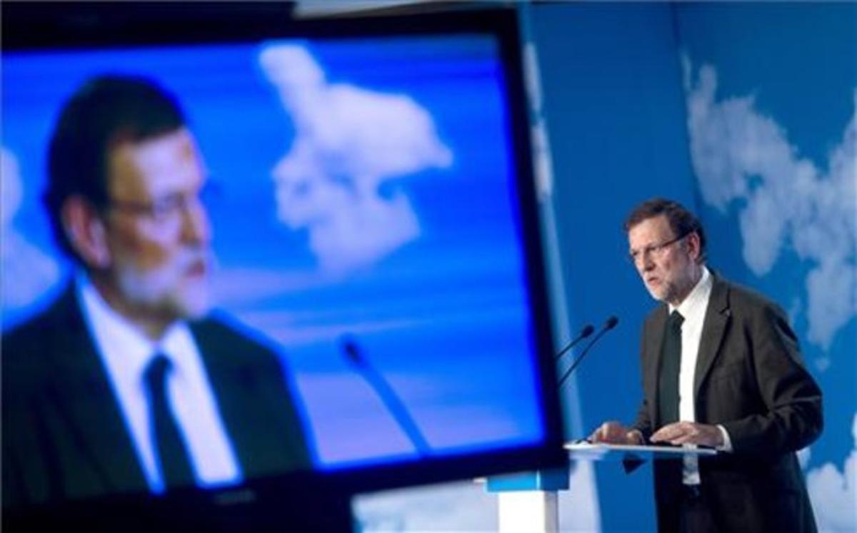 El presidente del Gobierno, Mariano Rajoy, durante su intervención el sábado en la clausura de la XX reunión interparlamentaria del PP.