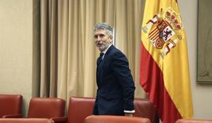 El ministro del Interior, Fernando Grande-Marlaska, antes del comienzo de la sesión de la Comisión de Interior del Congreso.