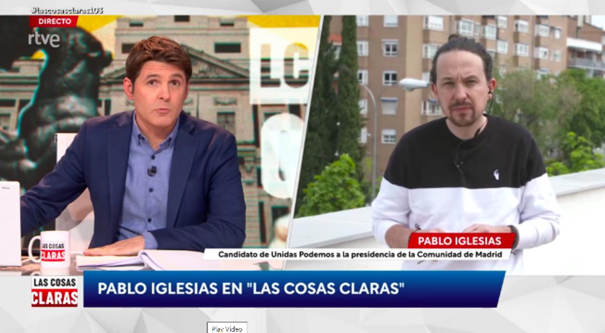 Jesús Cintora entrevista a Pablo Iglesias, en 'Las cosas claras' (TVE)