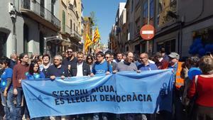 Manifestación por la municipalización del agua en Terrassa, el pasado domingo.