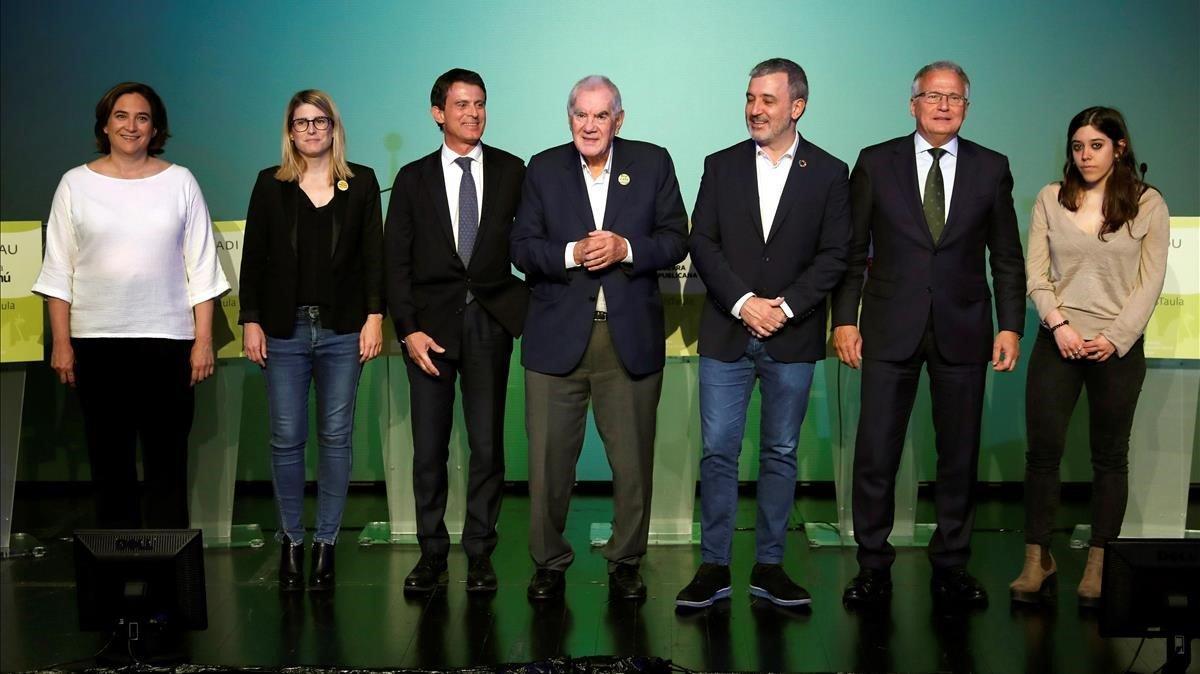 Los alcaldables de Barcelona Ada Colau, Elsa Artadi, Ernest Maragall, Manuel Valls, Jaume Collboni, Josep Bou y Anna Saliente en el debate organizado por la Mesa del Tercer Sector.