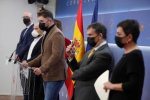 Los portavoces de ERC, EH Bildu, Junts, CUP y BNG en el Congreso