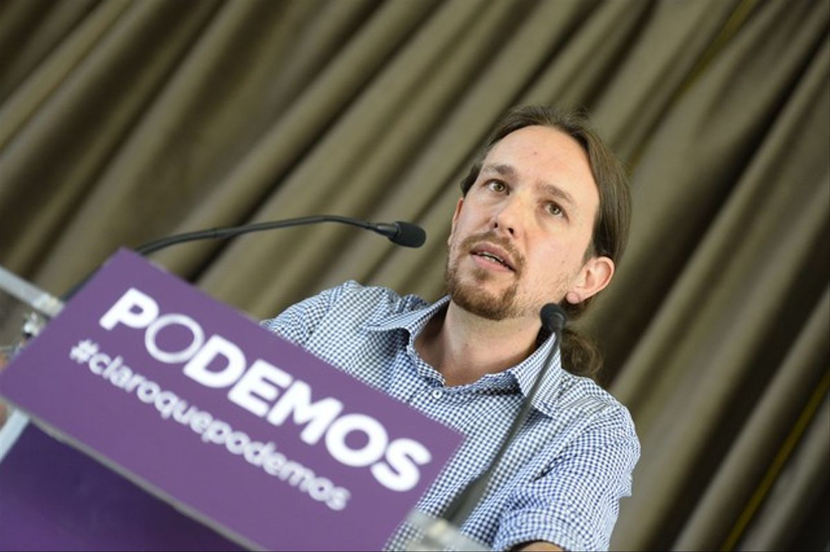 Pablo Iglesias, en rueda de prensa, en Madrid.