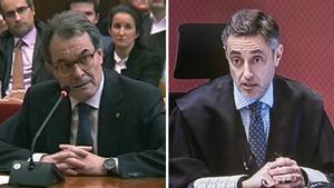 El 'expresident' Artur Mas y el fiscal Emilio Sánchez Ulled.