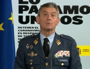 Miguel Ángel Villarroya, jefe de Estado Mayor, en una comparecencia del mes de marzo pasado.