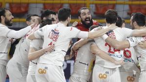 Los jugadores de la selección española celebran el triunfo en cuartos de final ante Noruega.