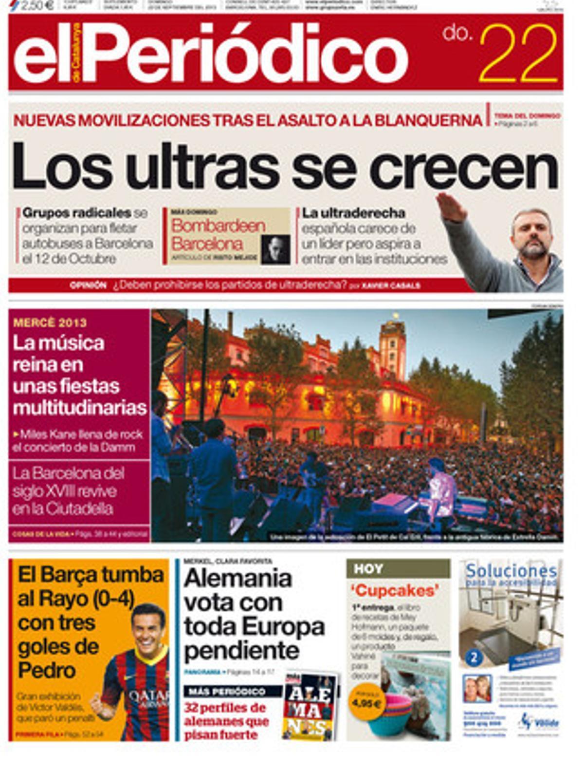 Portada de EL PERIÓDICO de la edición del 22 de septiembre.