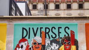 Mural feminista en la antigua carcel Modelo de Barcelona.