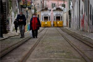 Una calle del centro de Lisboa, en febrero.