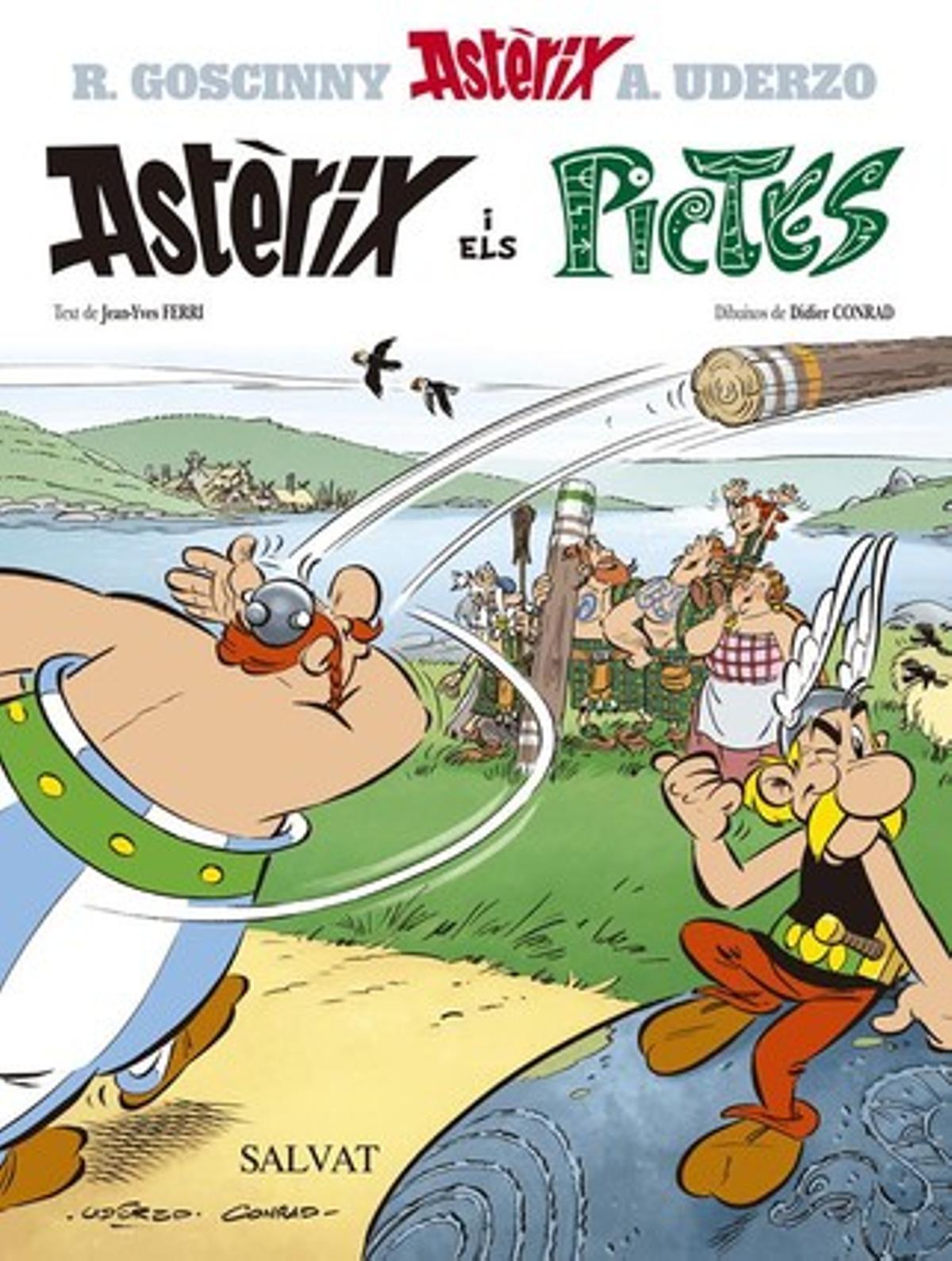 Portada del ejemplar en catalán de 'Astérix y los pictos', desvelado esta mañana en París.