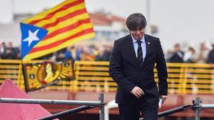 Carles Puigdemont, durante un acto independentista celebrado en Perpinyà el 29 de febrero.