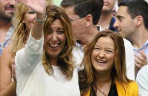 La presidenta del comité federal del PSOE, Verónica Pérez, junto a Susana Díaz, en un acto de partido en Sevilla.
