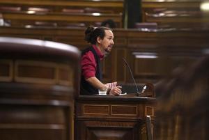 Pleno del congreso de los Diputados ,en la imagen Pablo Iglesias.