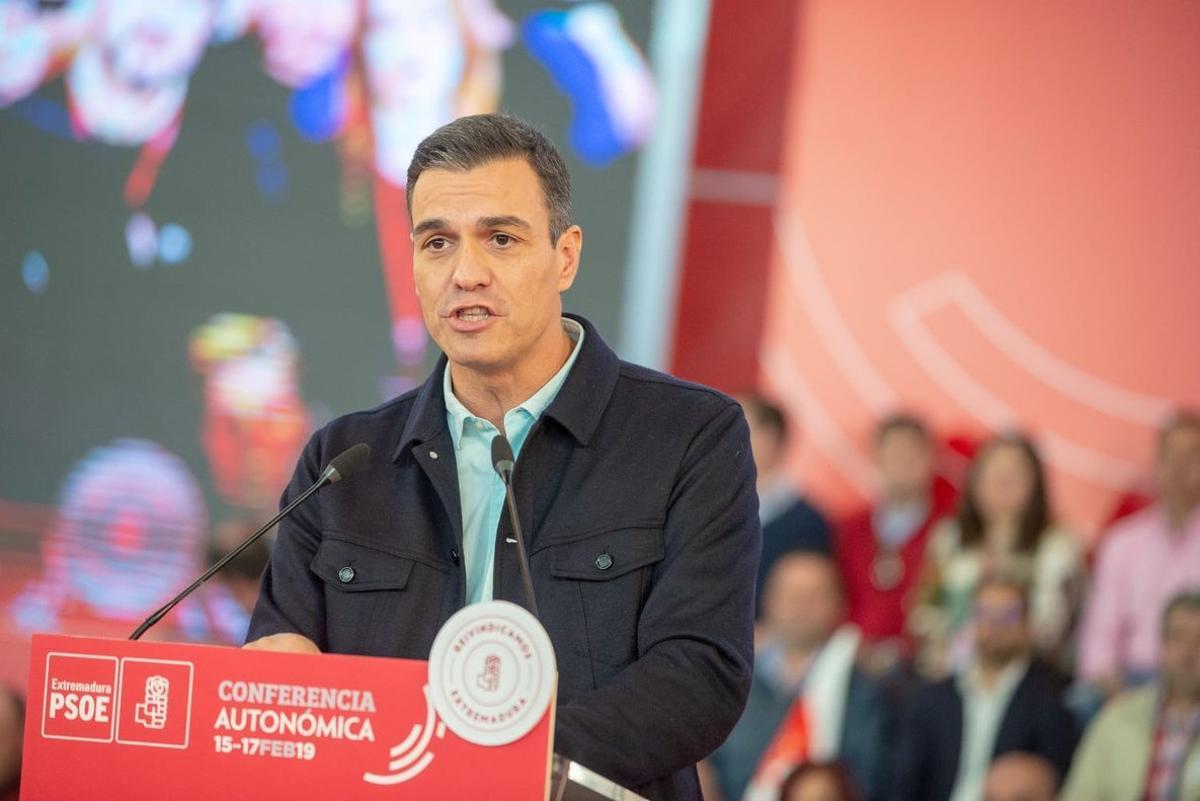 Sánchez, durante su intervención en la conferencia autonómica del PSOE de Extremadura.