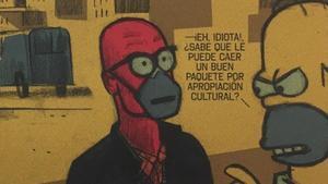 Fragmento de una de las tiras de 'Días de alarma', protagonizada por el historietista y Homer Simpson.