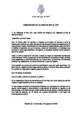 Comunicado sobre la decisión del rey Juan Carlos I de irse de España