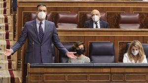 Pedro Sánchez, en la sesión de control al Gobierno, en el Congreso.