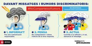 Tríptico de la campaña de la Xarxa Antirumors de Barcelona para compartir en redes sociales.