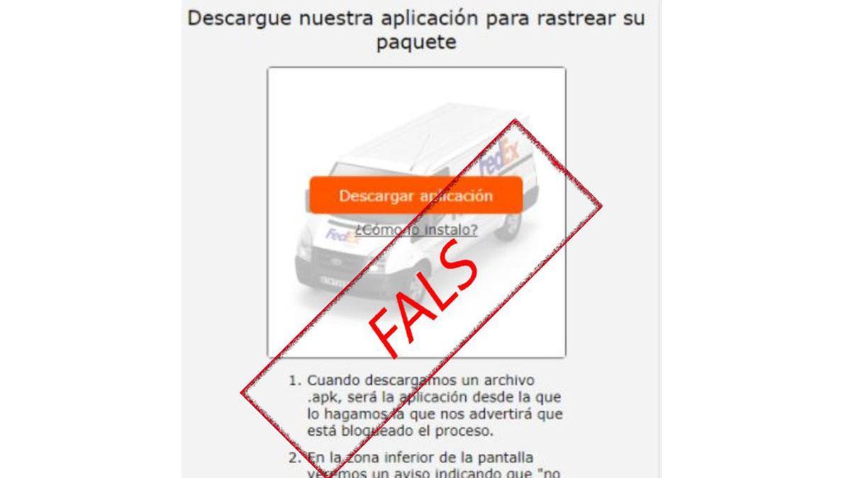Aviso falso de una supuesta empresa de paquetería.