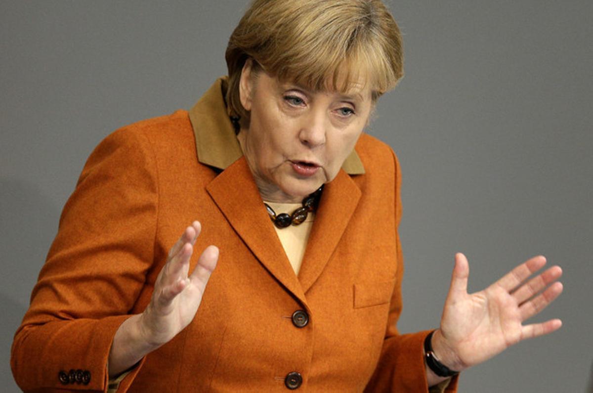 La cancillera alemana, Angela Merkel, en el Bundestag.