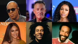 De izquierda a derecha y de arriba a abajo: Stevie Wonder, Bruce Springsteen, SZA, Beyoncé, Bob Marley y Marvin Gaye.