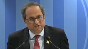El 'president' Torra valora la primera sesión del juicio al 'procés', este martes.
