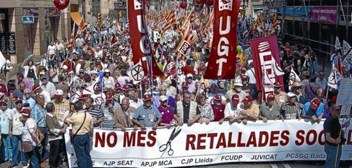 Una de las pancartas de la manifestación, ayer en la Via Laietana.