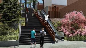 Representación de las nuevas escaleras en La Teixonera