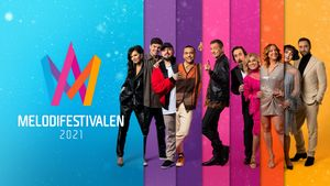 Los presentadores de las galas del Melodifestivalen 2021.