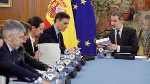 El rey Felipe VI presidiendo la reunión del Consejo de Seguridad Nacional.